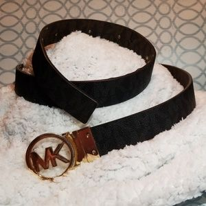 Accessories - Black Michael Kors Belt with Gold Buckle